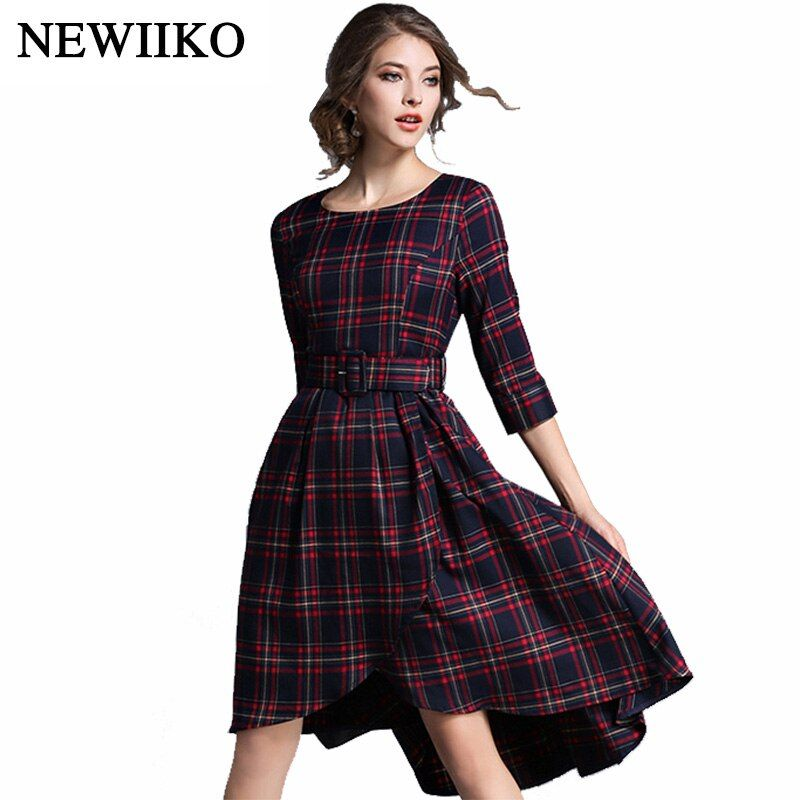 Women fashion casual elegant plaid dress career work O-neck summer autumn European and American style dress with sashes