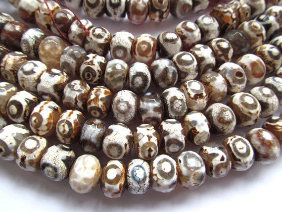 high quality 2strands 10x14 12x16mm Tibetant Agate Gem Round rondelle abacus Faceted Triangle Eyes Evil brown grey Loose Bead