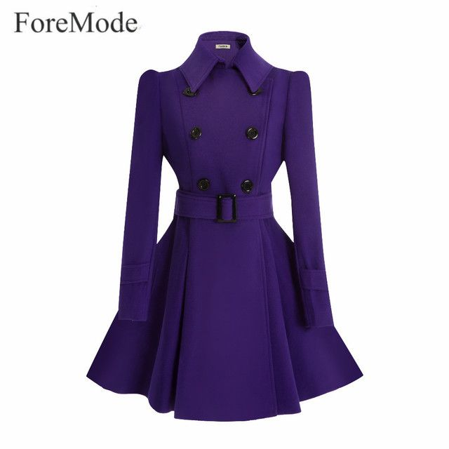 ForeMode 9 Color Winter Belt Buckle Mid-Long Trench Double-breasted Women Dress Long SleeveTrench Wool Coat