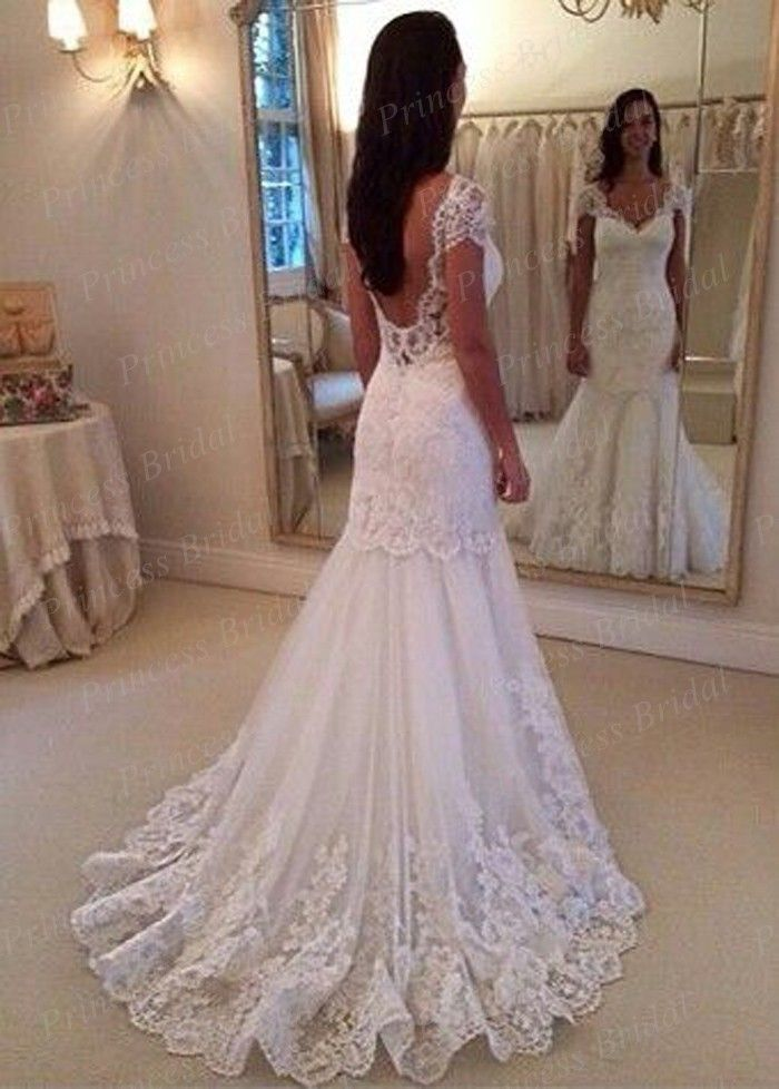 Designer Sexy Low Back Bride Dress Mermaid V Neck Lace Appliques Sweep Train White/Ivory Tulle Short Sleeve Wedding Dress MF501