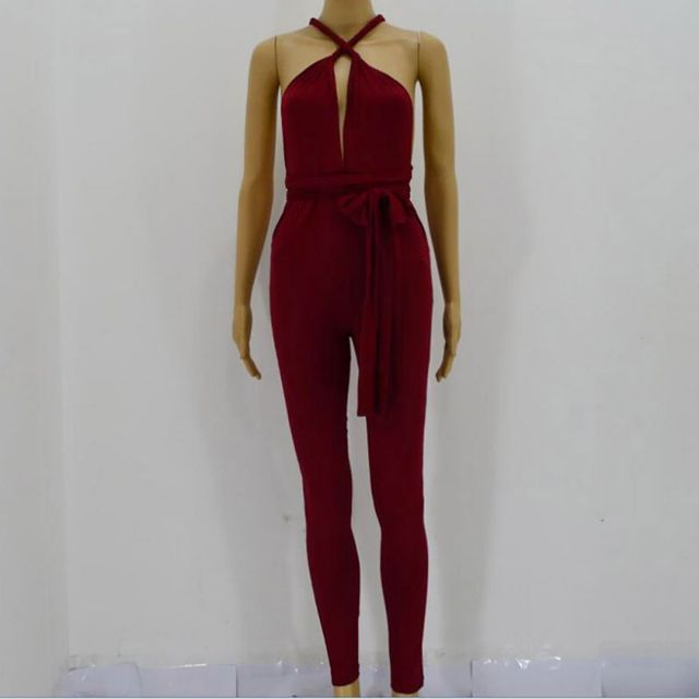 Women Rompers Backless Jumpsuits Tight Long Pants Sexy V-Neck Bandage Hollow Out Jumpsuit