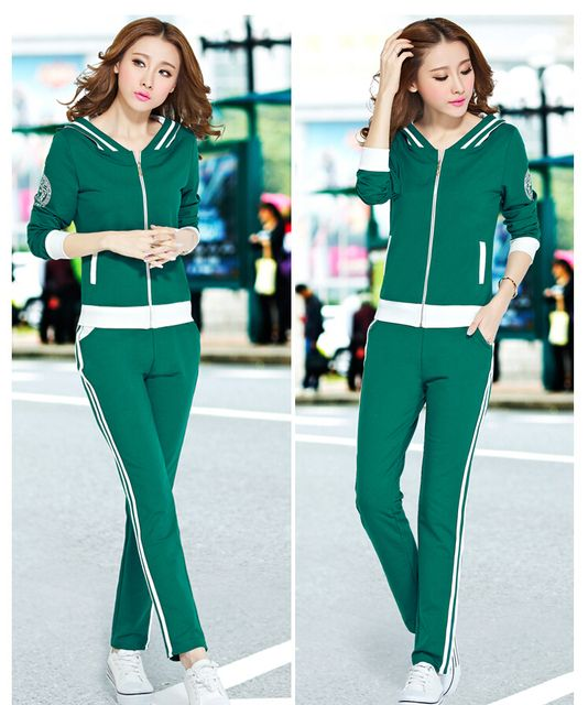 2016 New Fashion Women Autumn Suit Big yards Leisure Suit High quality Hooded Long-sleeved Slim Pants Suit Autumn Women  G1659