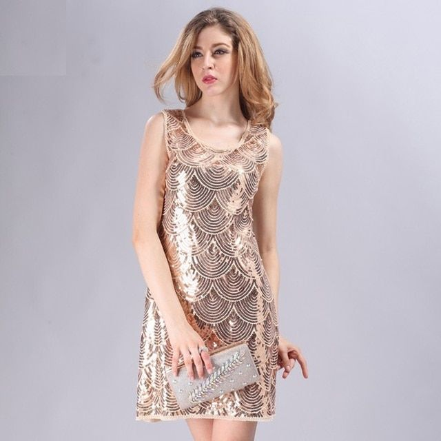 Beige Art Deco Dress Great Gatsby Charleston 1920s Style Vintage Flapper Beaded Sequined dress party Sleeveless Solid Dresses