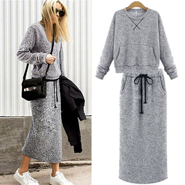 Europe 2016 new winter suit fashion female autumn new cotton two set long sleeved sweater dress suit