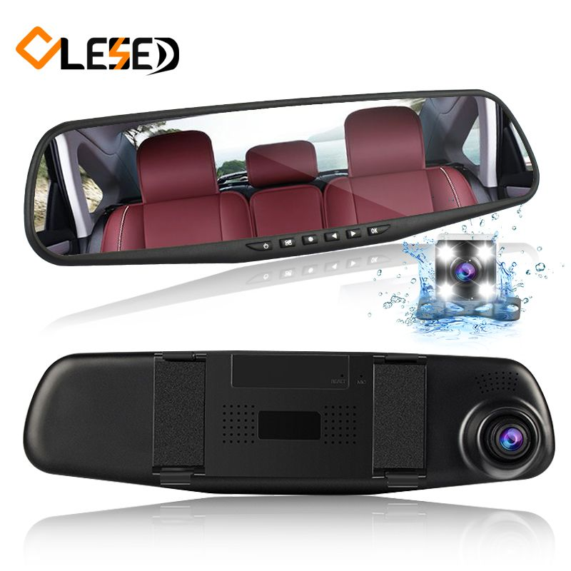 dual lens vehicle car camera rearview mirror auto dvrs cars dvr parking  video recorder registrator dash cam full hd 1080p