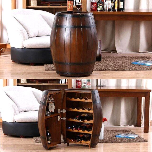 Oak Barrel Wine Racks Wooden Kegs Decorative Beer Bar Photography Props Wooden Barrels Hostels Decoration Rice Bucket Wood  X51