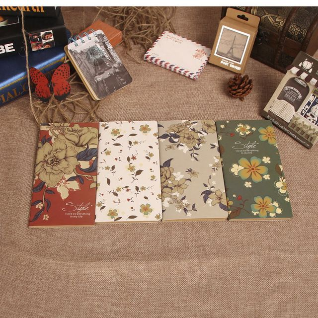European style vintage kraft paper notebook Notepad creative Beautiful flowers Diary book writing pads office school supplies