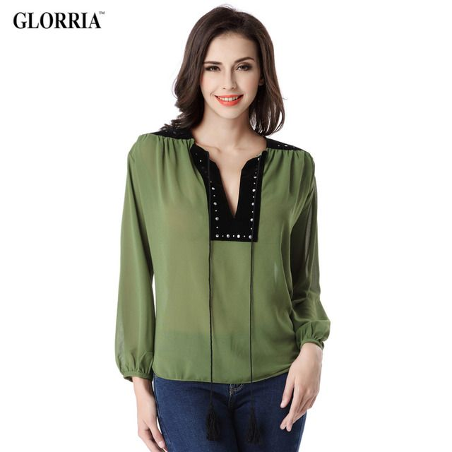 Glorria Women Summer Thin Chiffon Shirts Fashion Casual Black Rivet V-Neck Patchwork Tops Long Lantern Sleeve Green Blouses