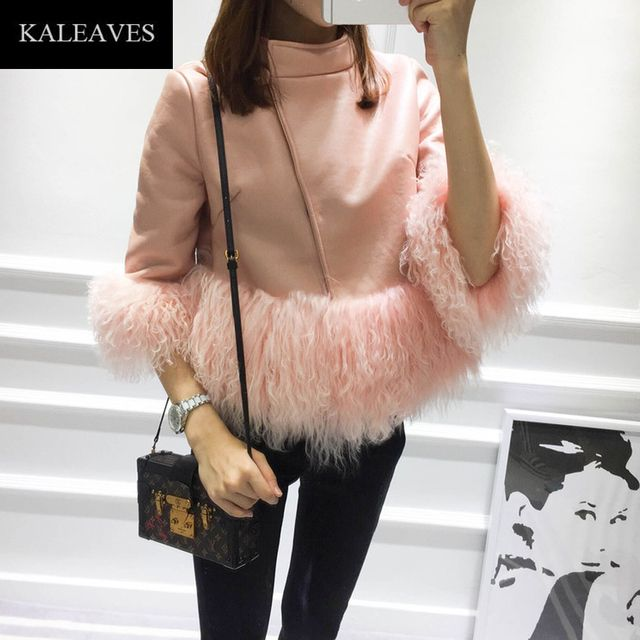 KALEAVES Runway Tassel Pants Set Women 2016 Autumn Winter Novelty Pink Yellow Green Half Sleeve Coat + Slim Black Pants Set