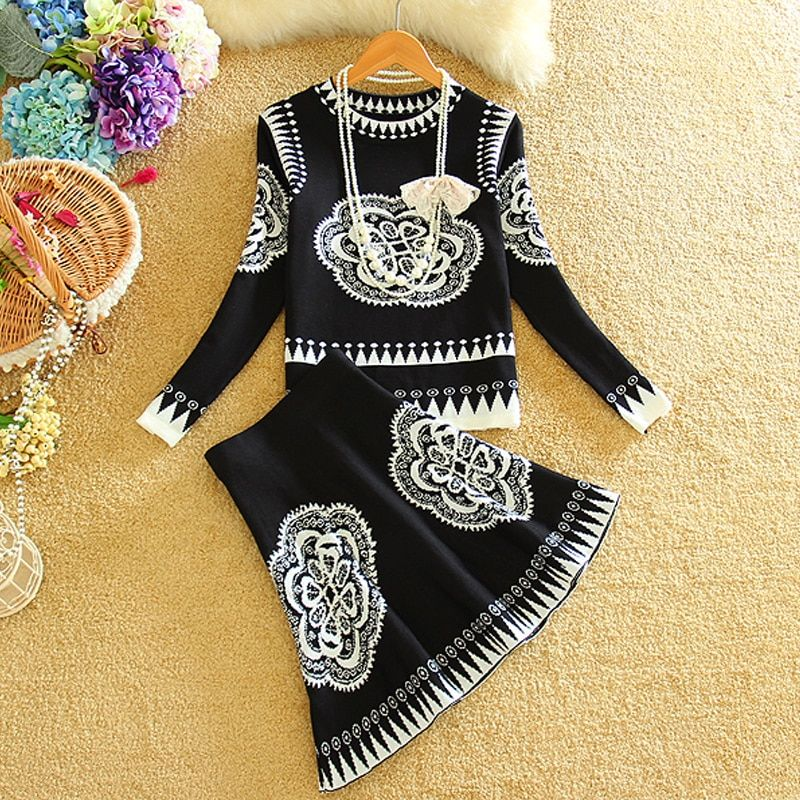Mini Skirt Suit 2015 Autumn Winter Women Long Sleeve Knitted Skirts Suits Female Skirt Sets 2 Piece Set Women