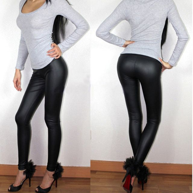 Spring Summer  Sexy Leggings S XS M L XL XXL XXXL XXXXL 5XL  6XL Full Length Middle-rise Elastic Flat Leather Pants Plus Size