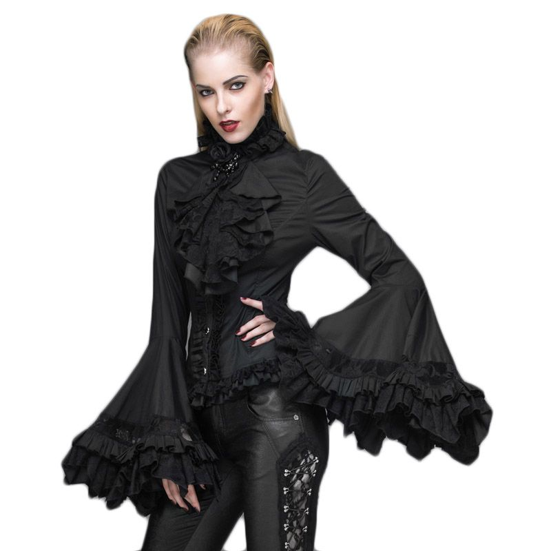 Steampunk Gothic Women's Shirt Court Palace Flare Sleeve Lace Shirts Black White Blouses Shirts With Flowers Collar For Women