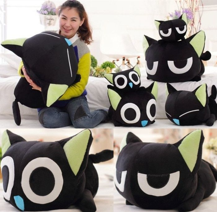 candice guo! super cute plush toy lovely funny Luo black cat soft stuffed doll kitten papa pillow birthday Christmas gift 1pc
