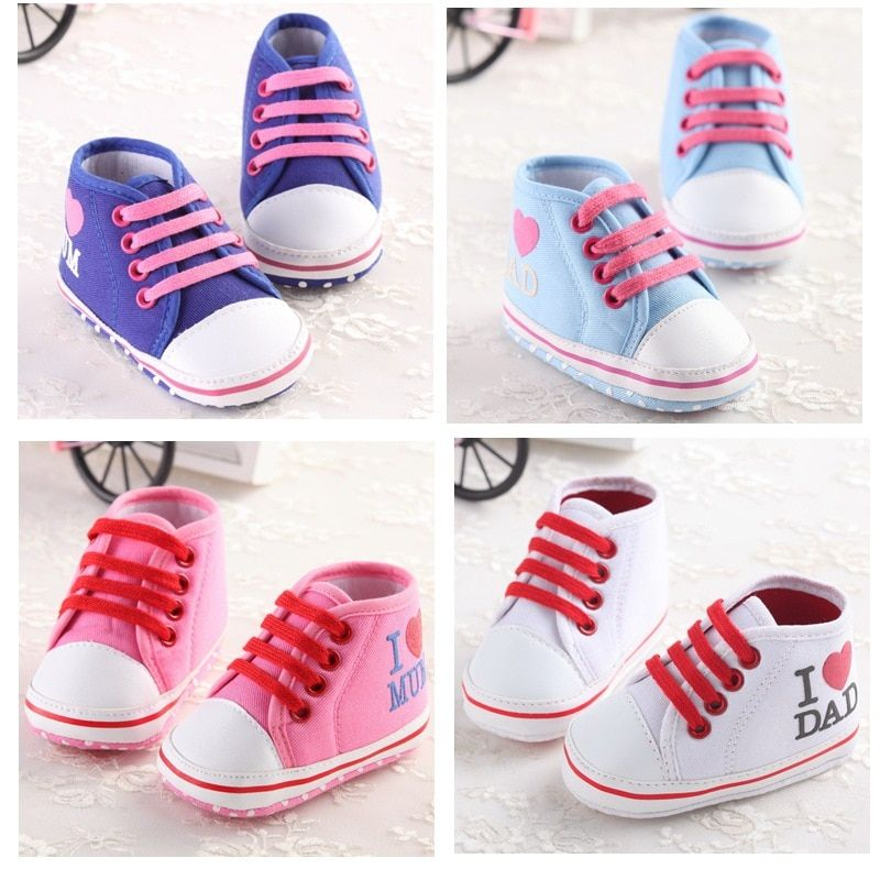 Hot Selling Infant Toddler Baby First Walkers Shoes Fashion I Love Mum Dad Soft Soled Girl Boy Shoes Anti-slip Crib Bebe Shoes
