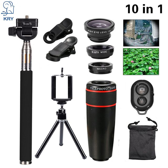 KRY 10in1 8x Telephoto Lenses Phone Camera Lentes Fish Eye Fisheye Lens for iPhone 5s lens 6 6s 7 Lens Wide Angle Macro Lenses