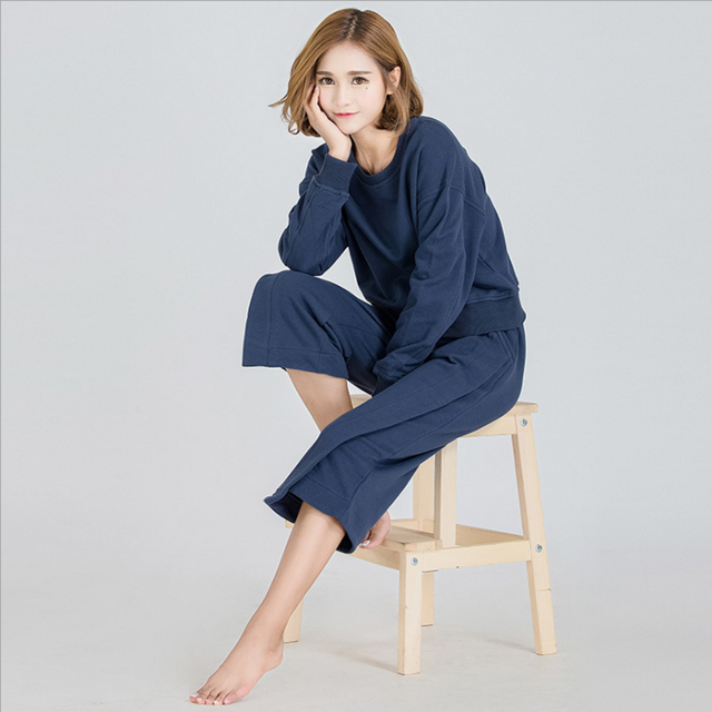 2017 Spring Brand Homewear Girl Leisure Pajama sets Ladies Cotton Sleepwear suit Female Long sleeve shirts + Calf-length pants