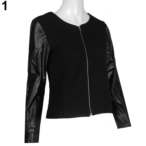2016 New Product Women's Fashion Casual Faux Leather Splicing Zipper Long Sleeve Jacket Coat