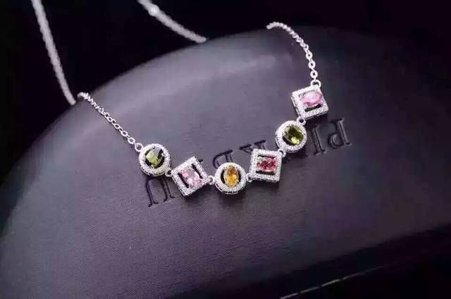 Natural multicolor tourmaline Necklace natural gemstone Pendant Necklace S925 silver trendy Luxury round Square women Jewelry