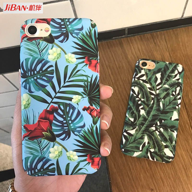 JIBAN Plants Banana Leaves Case For iphone 7 7plus Cartoon Leaf Hard PC Frosted Phone Back Cover For iphone 6 6S PLus 8 8Plus