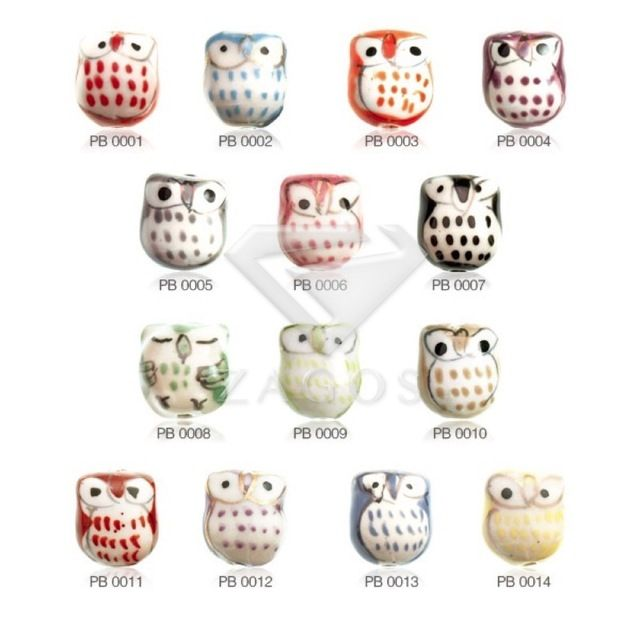 10Pcs 17x15x13nn Owl Animals Porcelain Handmade Beads Pendants Fit Bracelet Necklace 14 Color Choose Wholesale PB0001-14
