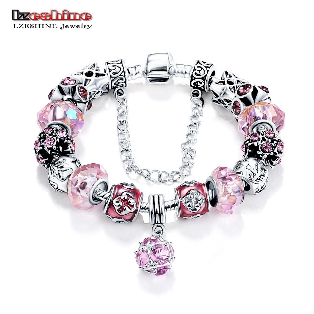 Hot Antique Silver Charm Bracelet & Bangle Pink Color Beads Charms Fit Bracelet Tibetan for Women Fashion Jewelry PCBR0053