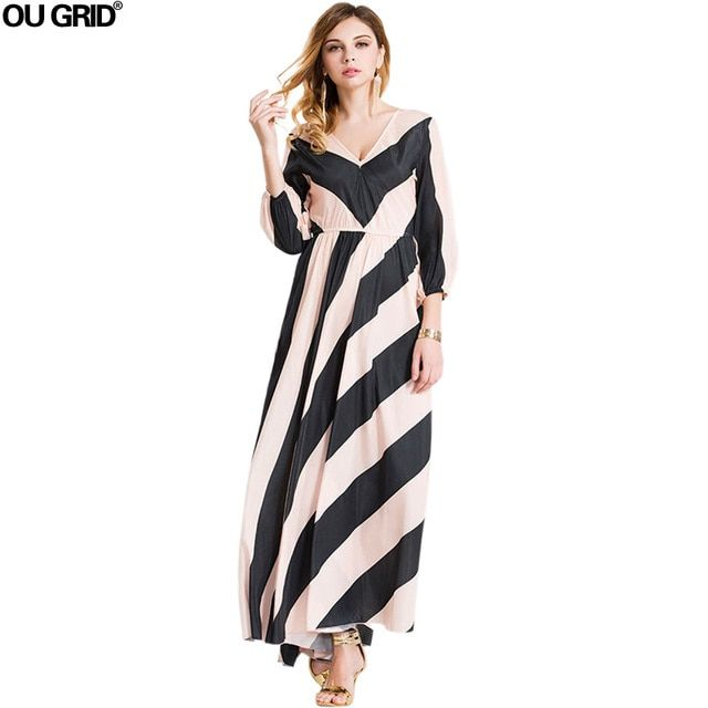 Women Chiffon Dress New Arrivals Deep V-neck Long Sleeve Spring Dress Striped Patchwork Fashion Casual Maxi Long Dresses