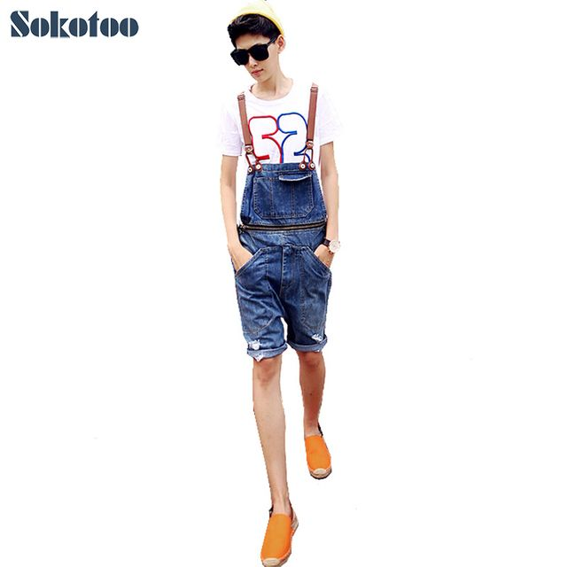 Sokotoo Summer men's fashion hole overalls Korean style pocket denim shorts Male jumpsuits Jeans Bib pants Free shipping