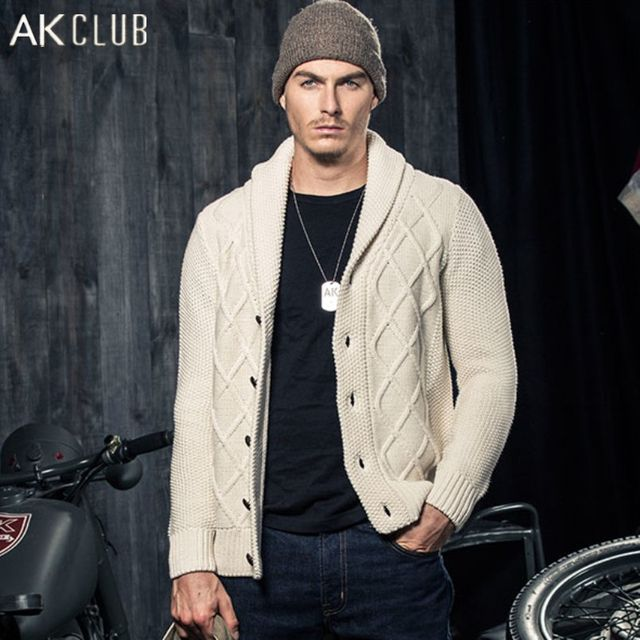 AK CLUB Men Wool Cardigan Sweater Wool Cotton Blended Thickening Front Edge Shawl Collar Men Cardigan Sweater Knitted 1518013