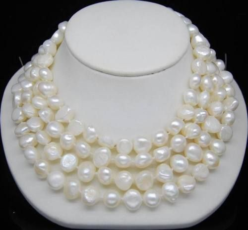 10X10  jewerly free shipping  Hot Excellent 9-10mm White color Cultured Irregular pearl Necklace 46''