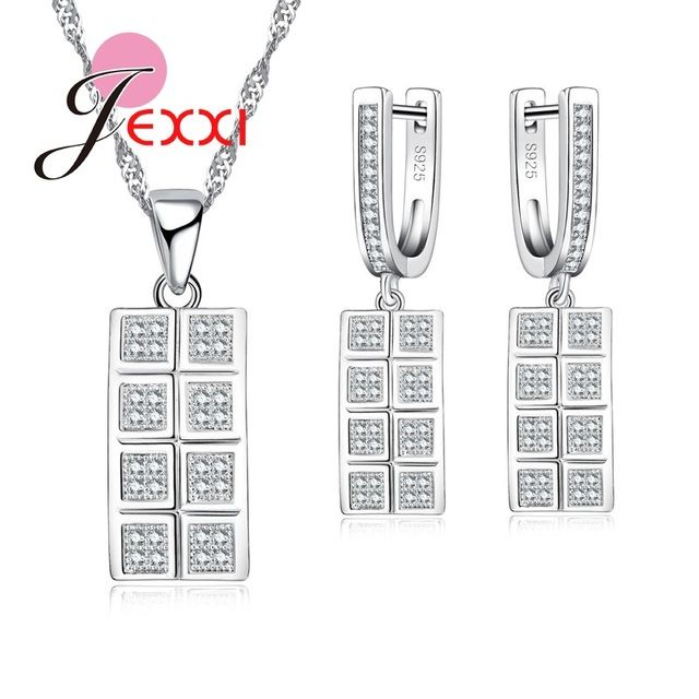 JEXXI Geometric Rectangle Shape Punk Styl Fashion 925 Sterling Silver Jewelry Set For Woman Cubic Zircon Dangle Earring Necklace