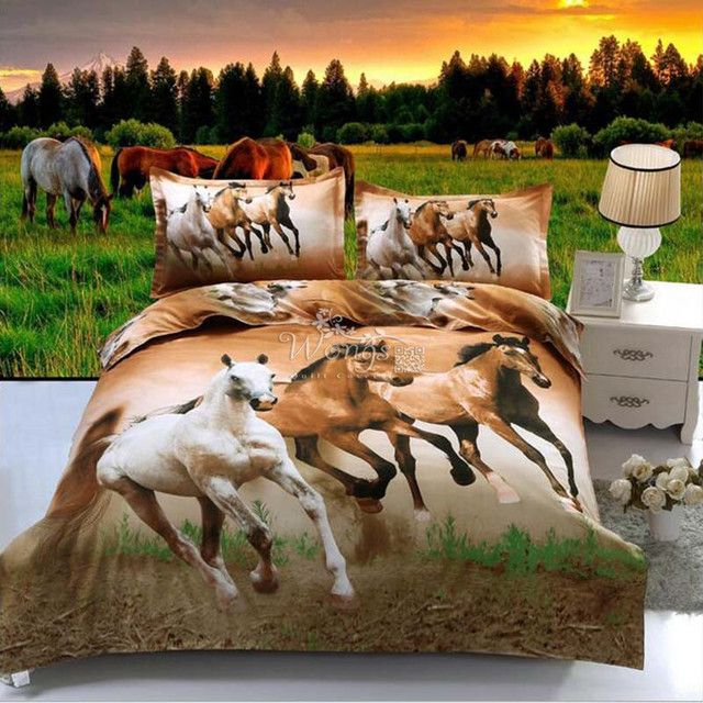 Horse Bedding Set Duvet Cover Quilt Cover Bed Cover Pillow Cases US Twin Full Queen Size Animal Bedclothes 3pcs HD Print