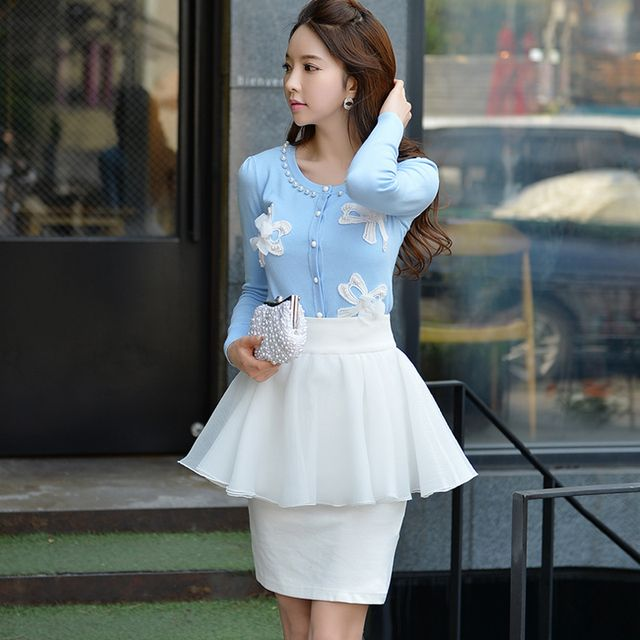Original 2016 Brand Saia Autumn Big Sizes Slim Fashion Elegant Ruffled Skirts Women Wholesale