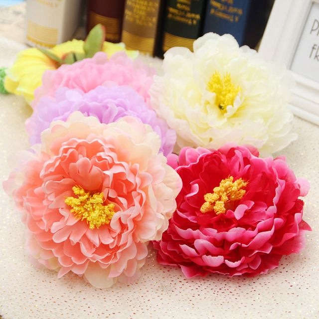 Free shipping 20pcs/lot 15cm Big flowers peony Head Artificial Silk Flower Heads Craft Wedding Home Party Decoration