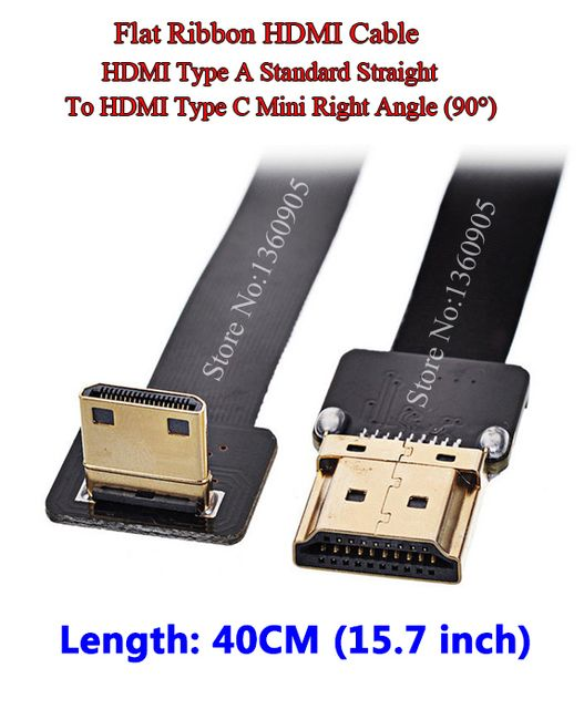 40CM 15.7'' Ultra Thin HDMI Cable Straight Type A to Type C HDMI Mini Right Angle Flat Ribbon Cable Gold Plated Copper