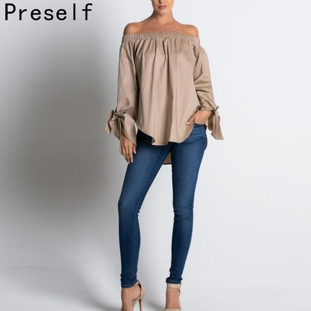 Preself Hot 2016 New Casual Fashion Sexy Women Cold Blouse Bow Long Sleeve Off Shoulder Blouse Loose Summer Beach Shirt Tops