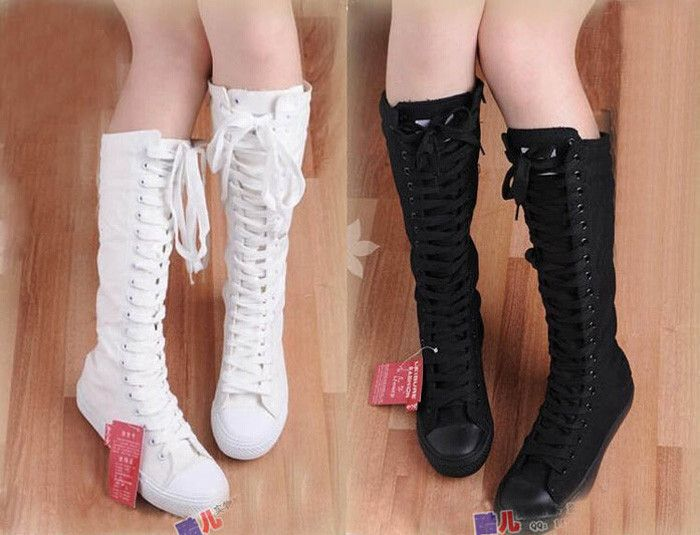 Hot sale! Women Boots Canvas Lace Up Knee High Boots Women motorcycle boots Flat Casual Tall Punk Shoes woman US4-10