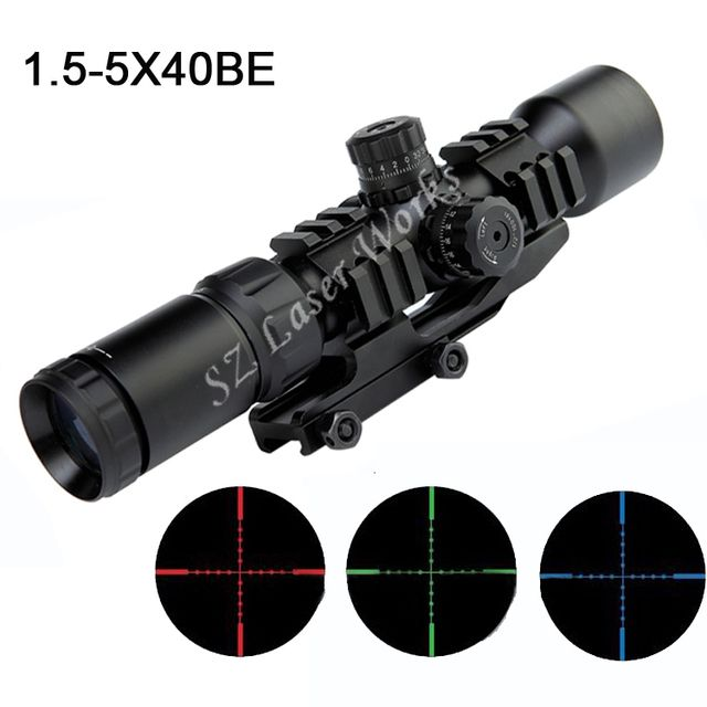 AIM Sports 1.5-5x40BE Mil-Dot three color Illuminated Tactical Monocular riflescope sight Waterproof hunting Riflescope sight