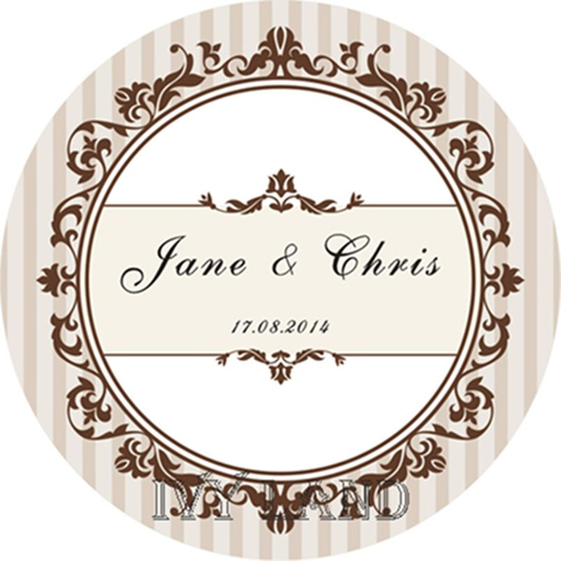 Free Shipping,New Paper,Custom Adhesive Sticker / Label,For  Wedding / Party,Circle 5cm