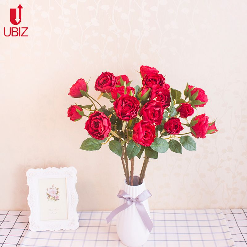 Artificial Silk eternal Rose flower thorns Pots vase flowers glass Stamen Roses home Wedding Ornament decoration fleur flowers