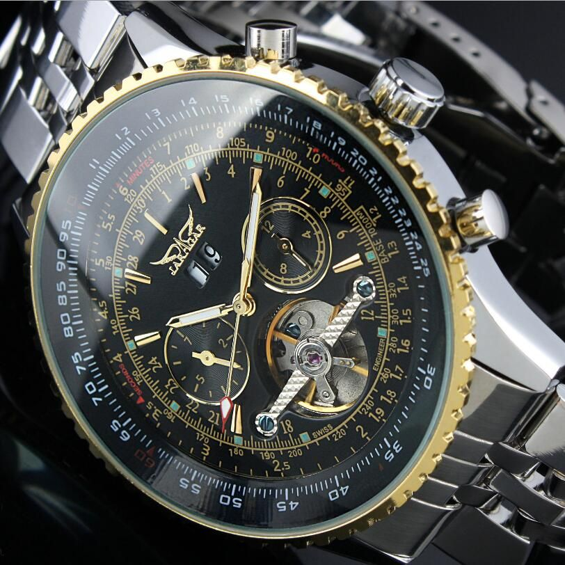 JARAGAR Automatic Watch Mens Day Flywheel Auto Mechanical Stell Band Wristwatch