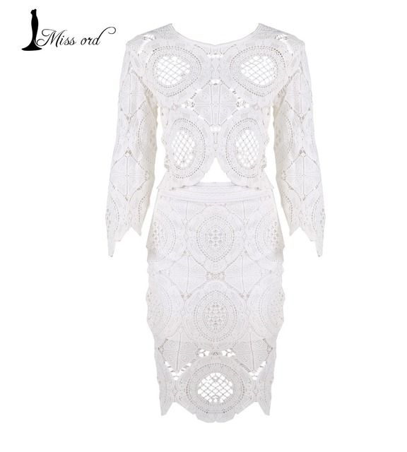 Free shipping  2016 Sexy O-Neck lace stitching thread empty 2-pcs dress   FT2035