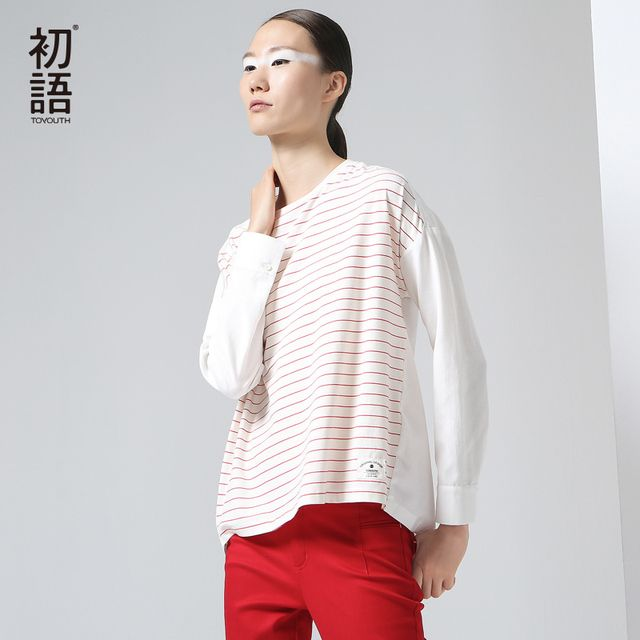 Toyouth New Arrival Women Cotton Full T-Shirts Autumn Striped Printed Batwing Sleeve Patchwork O-Neck Top