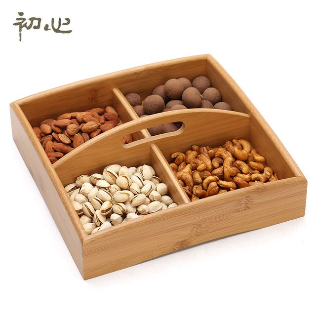High Quality Bamboo / Beech / Walnut Made Fourfold Portable Disk with Handle for Dried Fruit and Candy Big Size Storage Tray