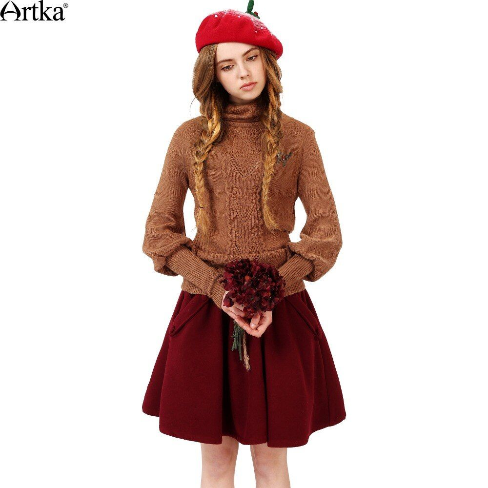ARTKA Women's Autumn New Casual Solid Color A-line Skirt Vintage Comfy All-match Pleated Skirt With Pockets QA15156D
