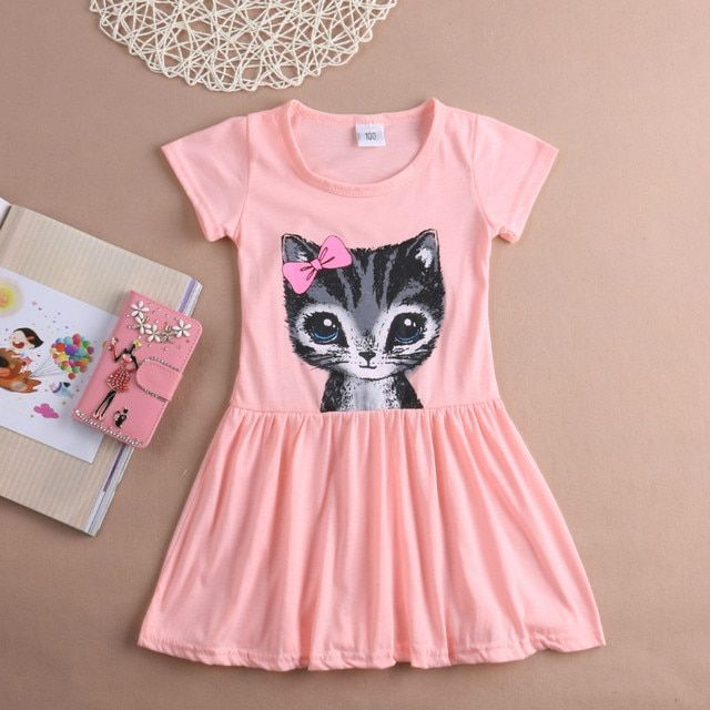Printing Lovely Cat Girls Dress Toddler Kids Girls Summer Princess Short Sleeve Pierced Party Dress Age 2-6Years