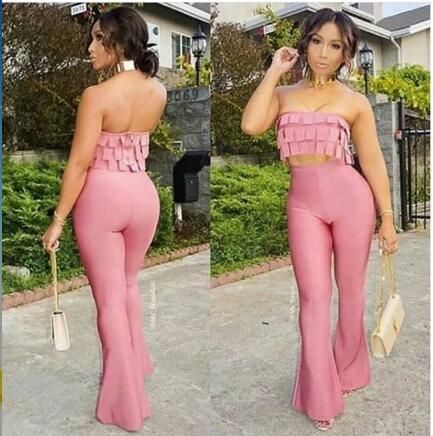 High Quality New Jumpsuit Sexy 2 Pieces Off the Shoulder Jumpsuit Bandage Fashion Playsuit