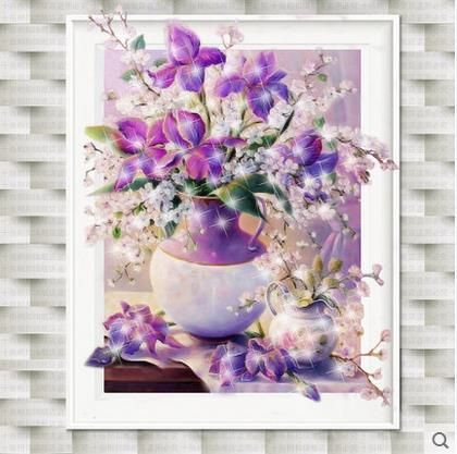 NeedleworkFull diamond art flower painting Hand made diy 5d diamond painting Purple vase cross stitch crystal 2019 home decor