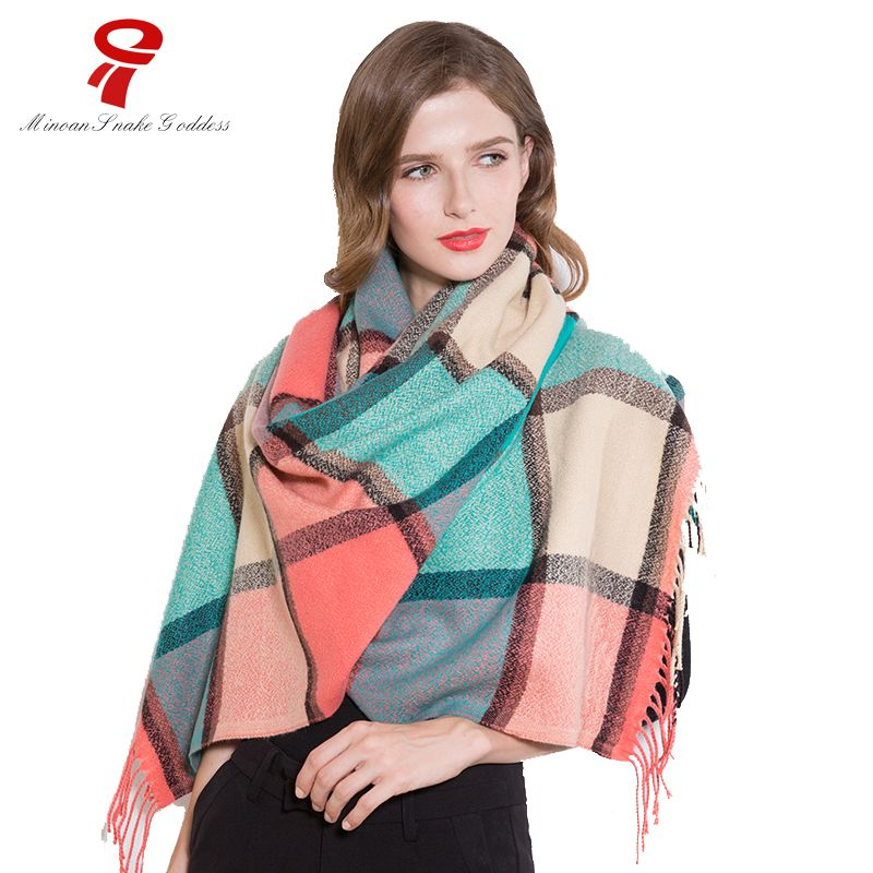 scarf  Women's Winter Warm Vintage Blanket Lady Shawl big sized plaid female scarf Luxury Brand  LIC for women Scarves stoles