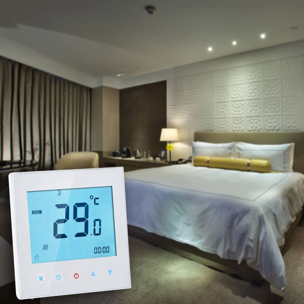 Touch Screen Digital Thermometer Weather Station Clock Thermoregulator Thermocouple heating Thermostat Temperature Controller