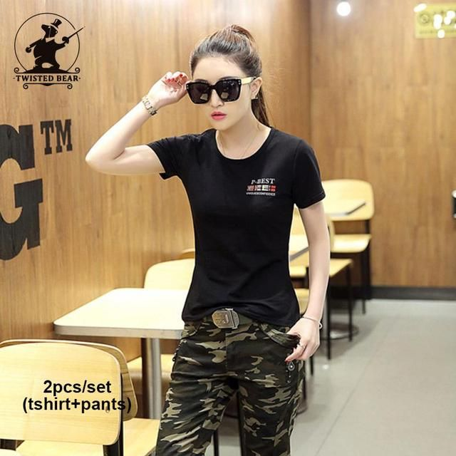 New Women's Camouflage Military Uniform Sets (Tshirt+Pants) Fashion Army Green Plus Size 100% Cotton Casual Sets Women D34EA2668
